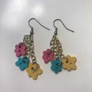 Earrings - flower buttons - pink, blue, yellow